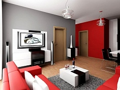 Red and gray living room ideas